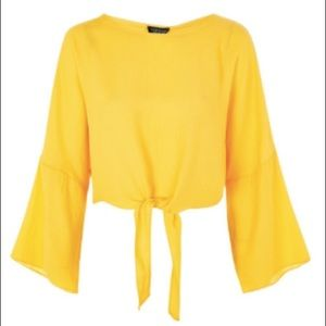 TOPSHOP Yellow Knot Front Top